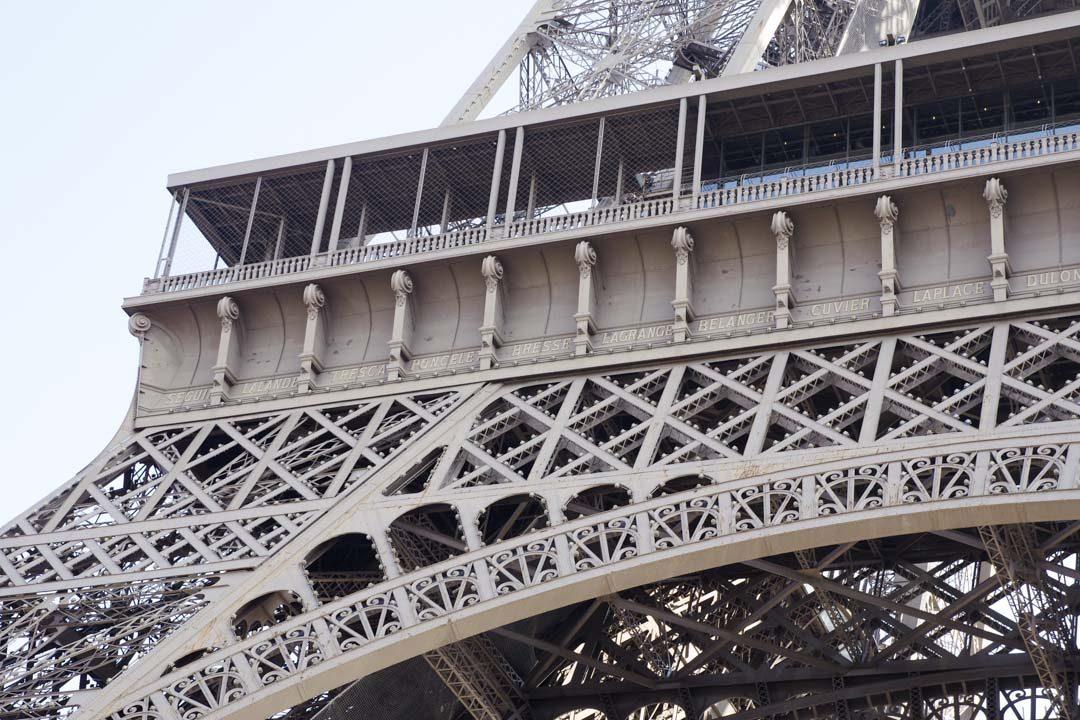 Zoom sur les noms de scientifiques inscrits sur la tour Eiffel