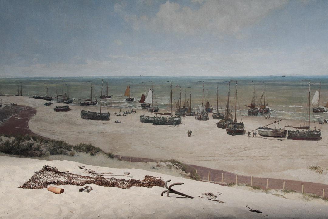 Détail du panorama Mesdag : les bateaux sur la plage de scheveningen