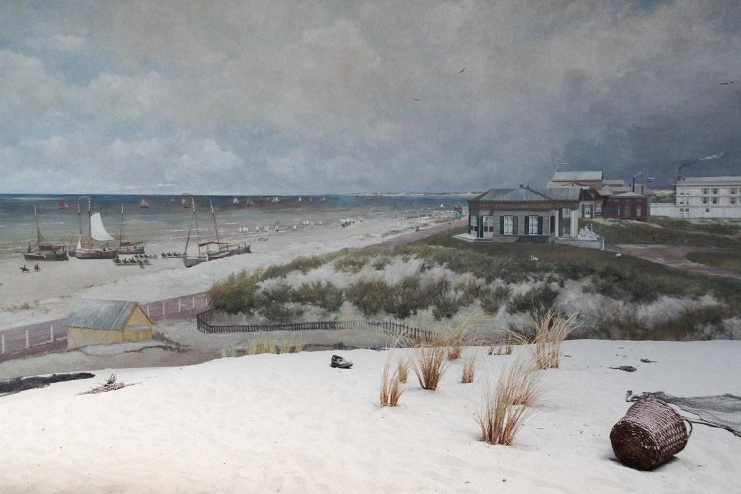 Panorama Mesdag : détail des premieres villégiatures sur la plage de Scheveningen