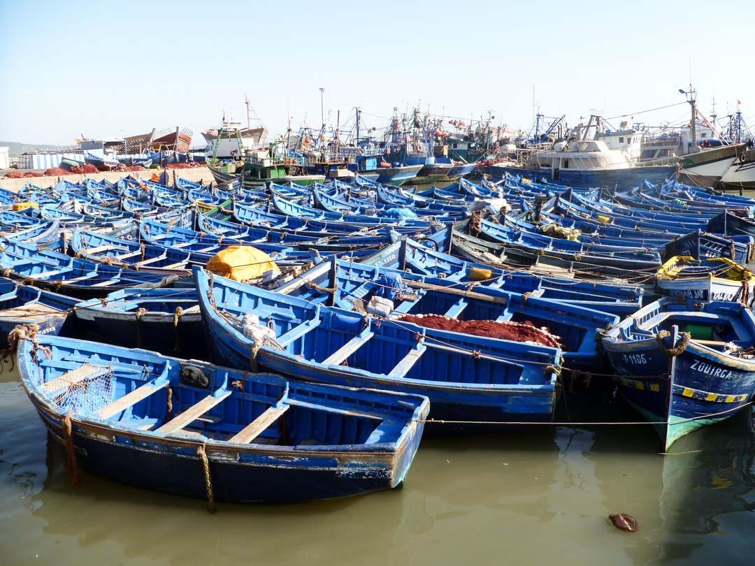 le port et ses bateaux bleus à Essaouira