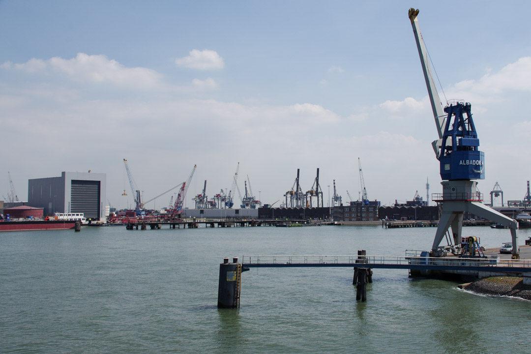 grue dans le port de Rotterdam