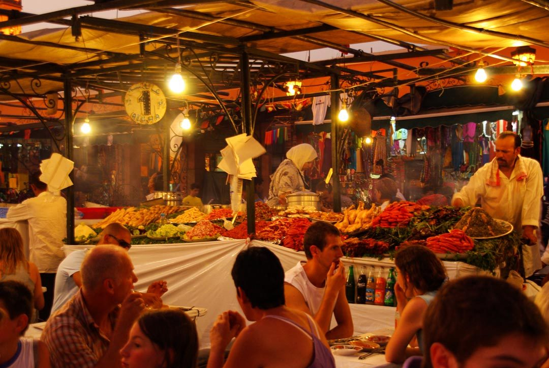 Les restaurants ambulant le soir sur la place de Jemaa El Fna
