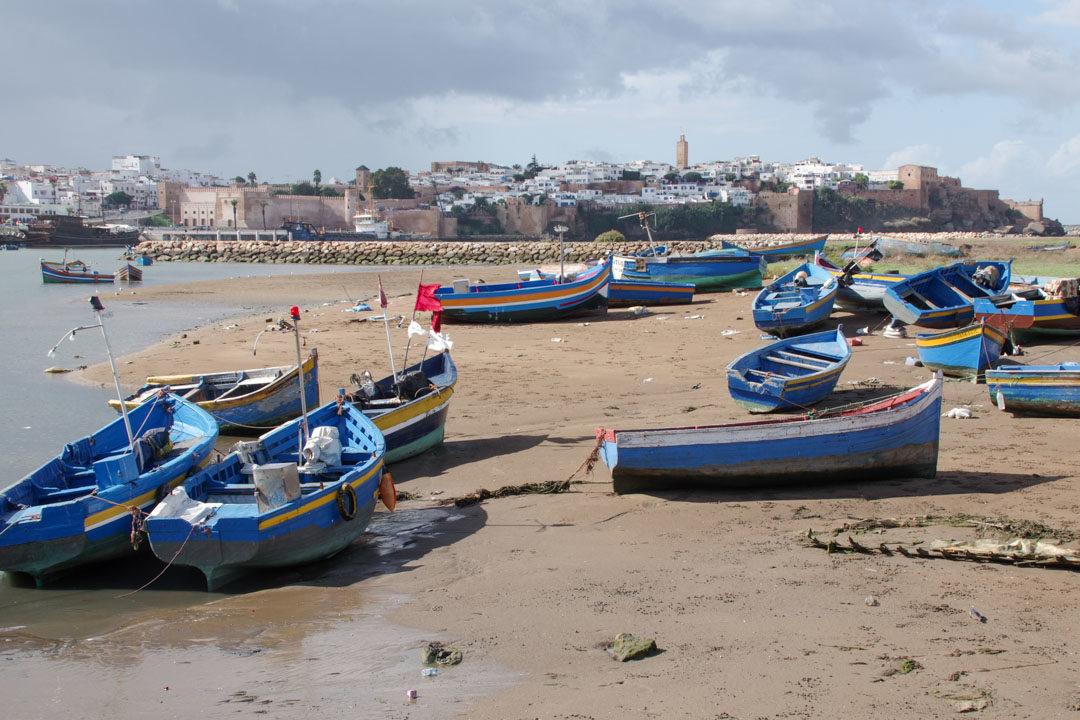 Barques pour traverser l'Oued Bouregreg