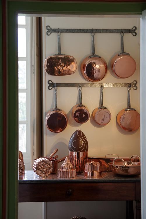Collection de casseroles en cuivre - Cheverny