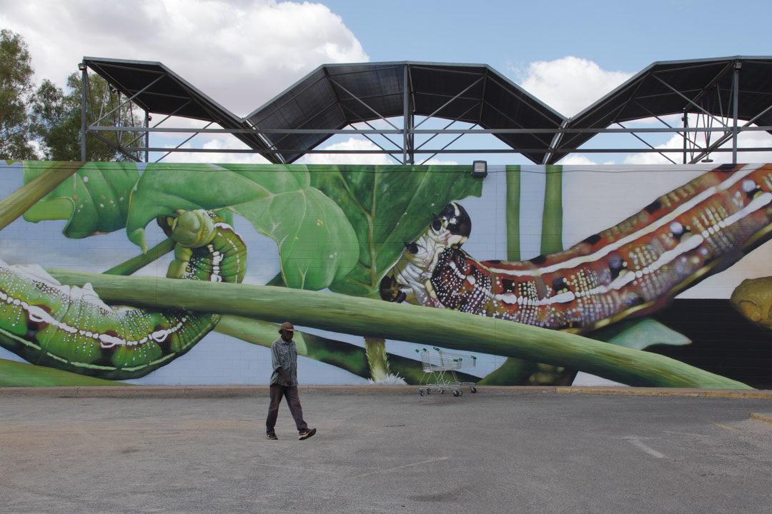 Street Art sur le parking à Alice Springs