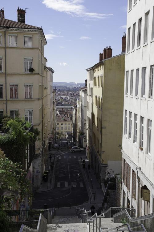 les pentes de la Croix Rousses à Lyon