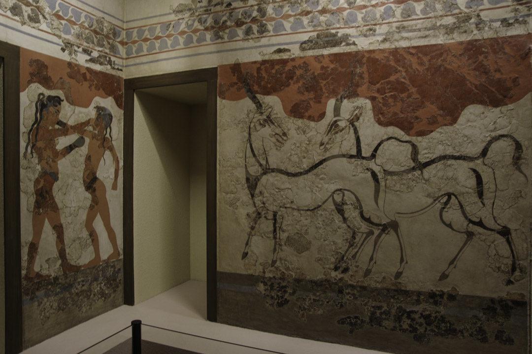fresques au musée archéologique d'Athènes
