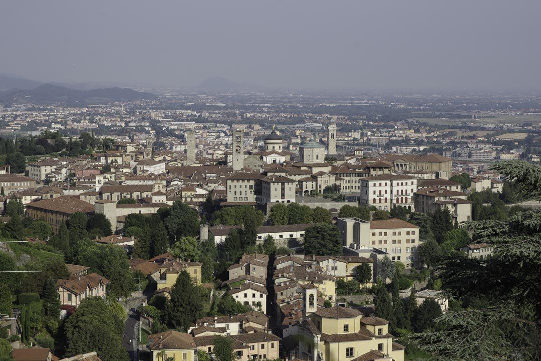 Panorama sur Bergame depuis le Chateau de San Vigilio