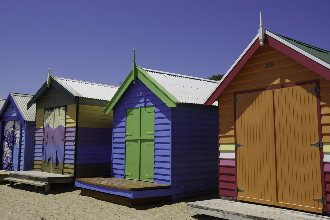Cabanons colorés de Brighton Beach