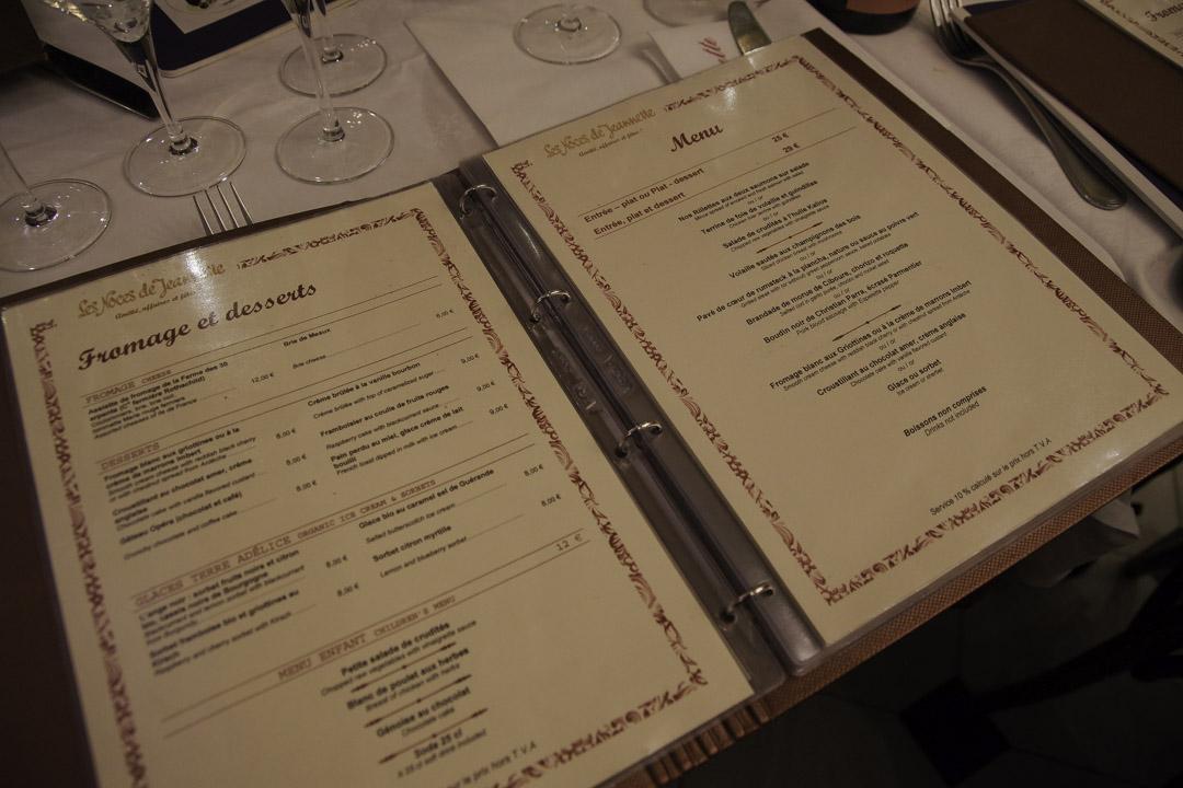 La carte du restaurant les Noces de Jeannette