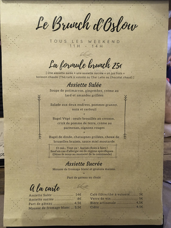 le menu du brunch Oslow à Lyon-Par-Dieu