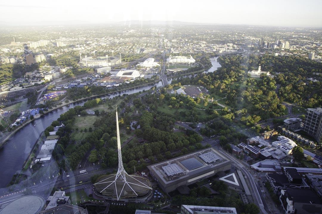 Point de vue depuis l'Eureka Sky Deck de Melbourne