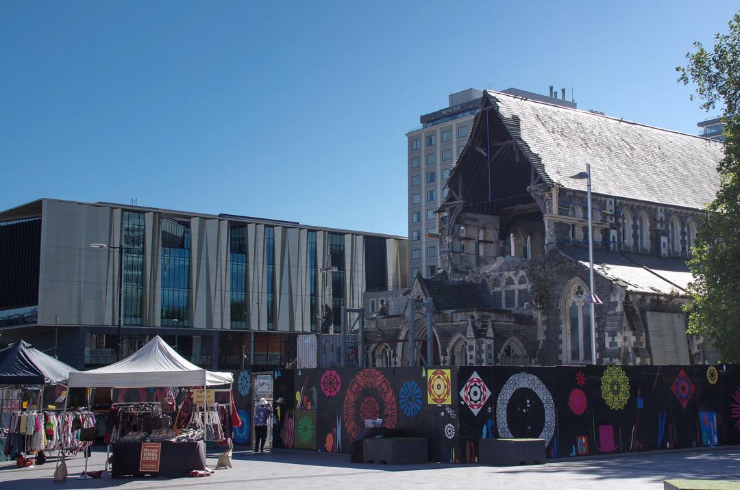 cathedrale en ruines à Christchurch