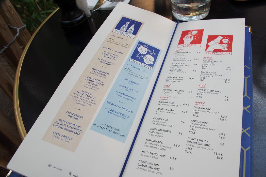 Menu du Café Bleu à Chartres