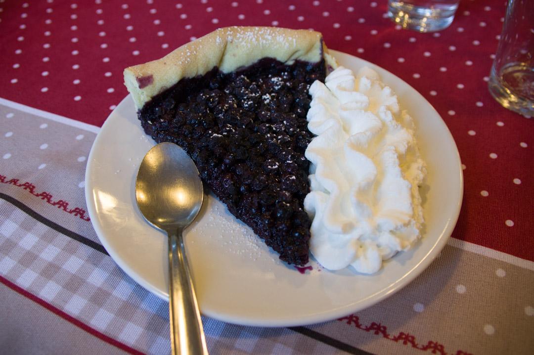tarte aux myrtilles de l'Auberge du Gazon Vert