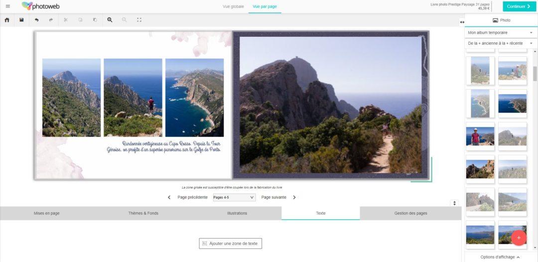 interface photoweb création de livre photo