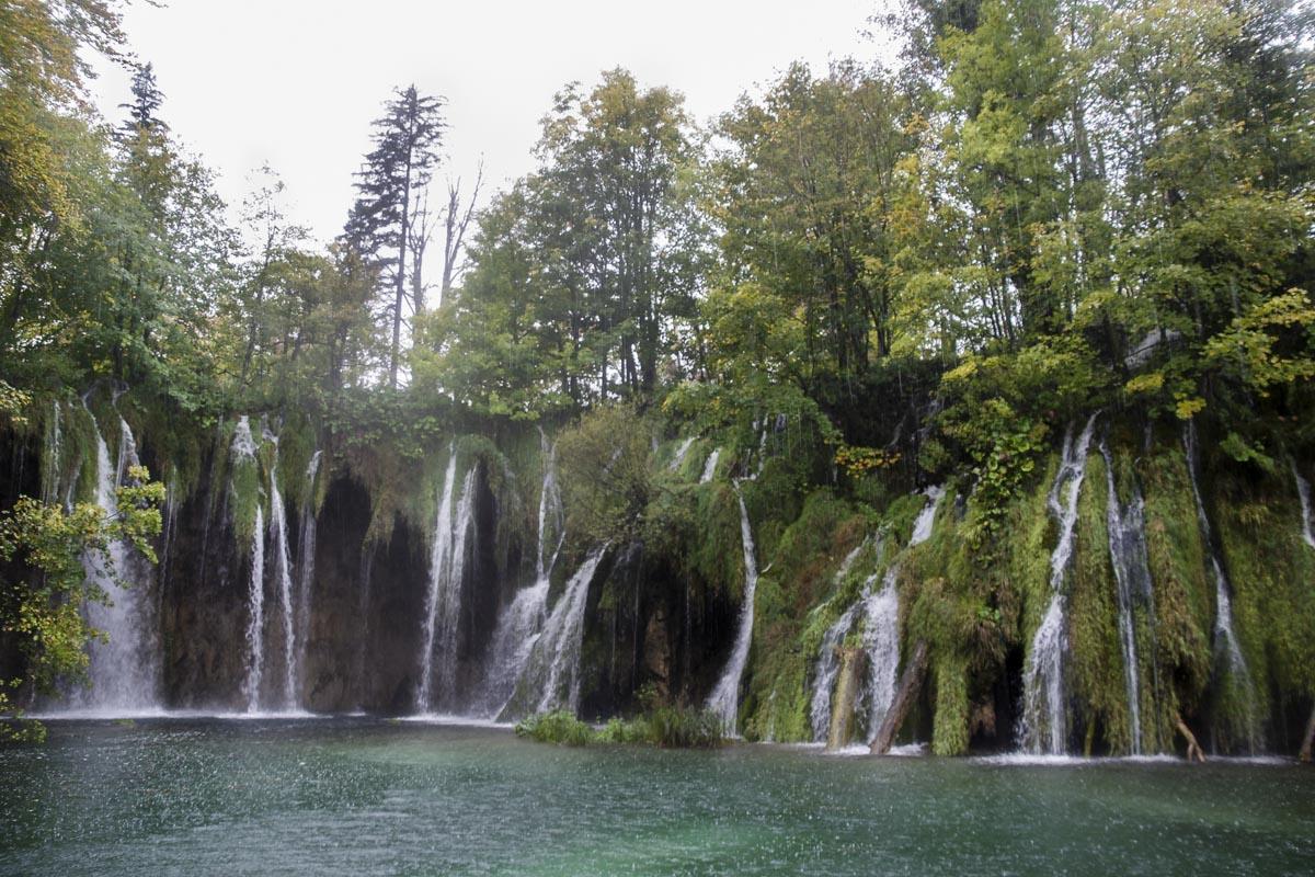 les cascade de Plitvice sous la pluie