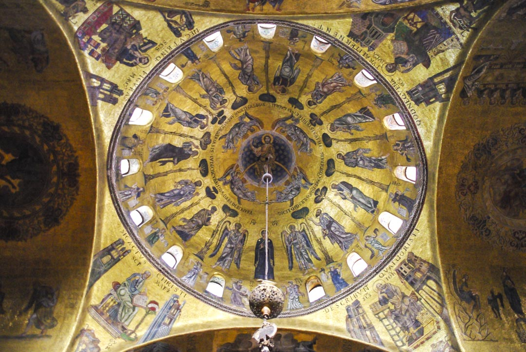 Mosaique byzantines dans la coupole de la Basilique Saint Marc