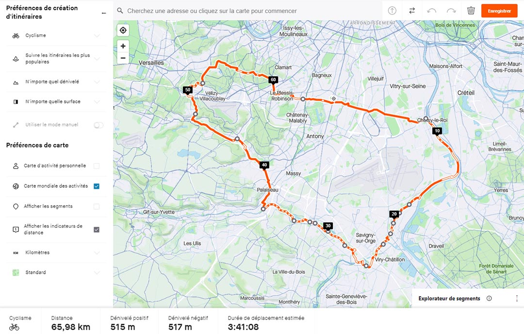 interface strava itinéraires