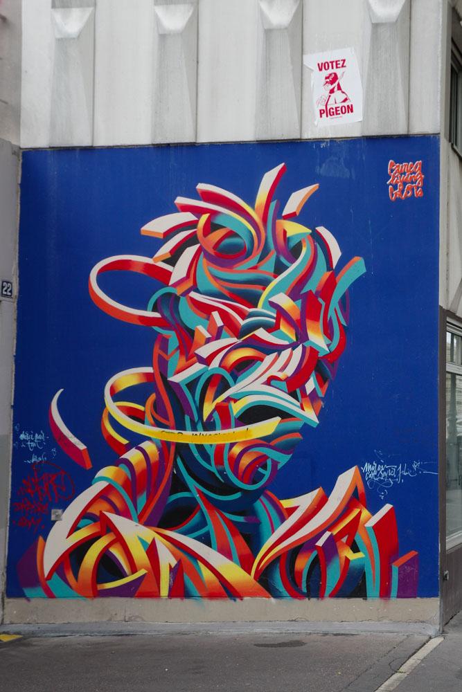 Fresque de street art réalisée dans le cadre du festival Ourcq Living Colors