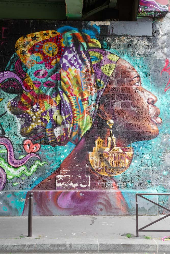 Fresque de street art aux abords du Canal de l'Ourcq