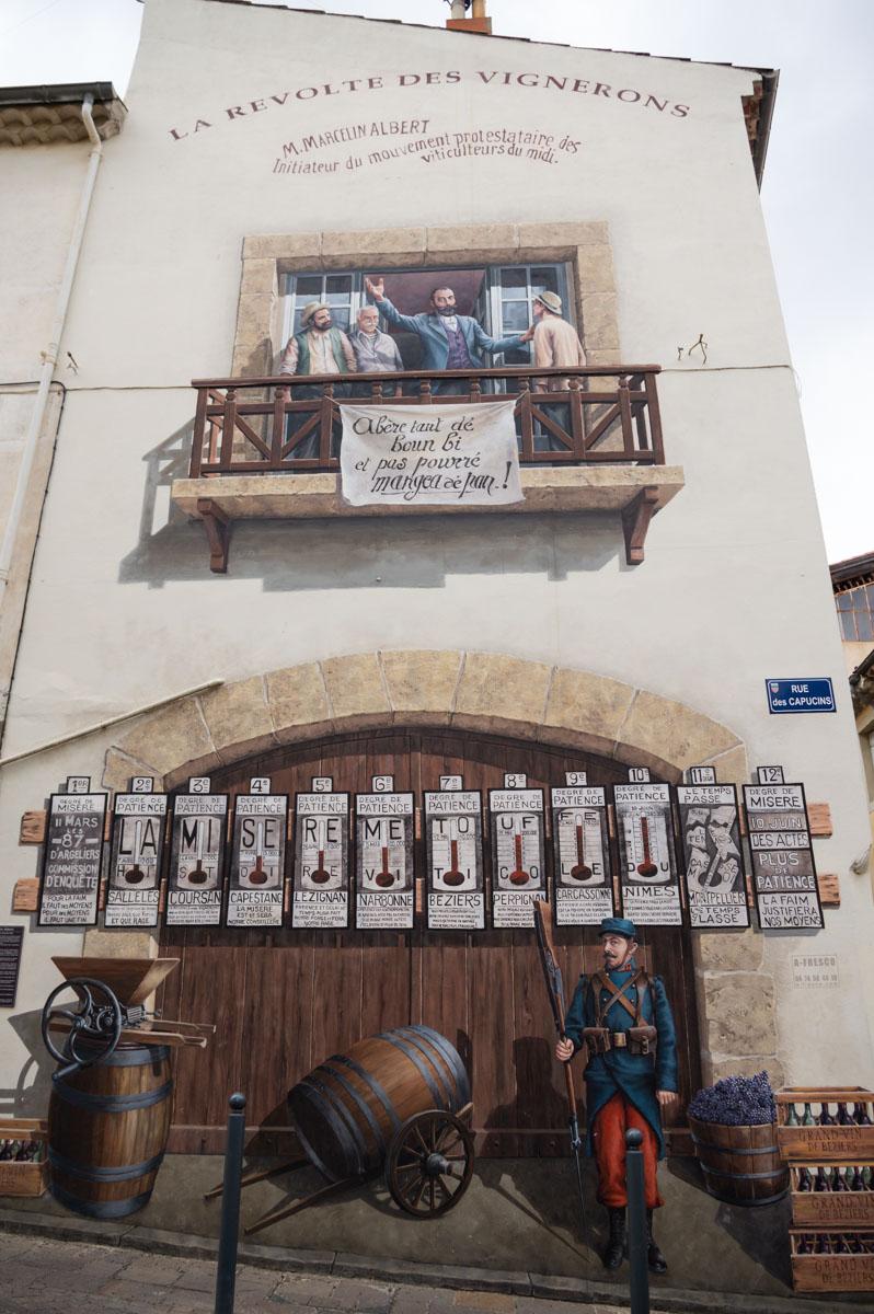 mur peints des vignerons à Beziers