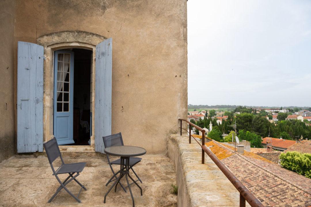 balcon de la chambre du château de Puicheric