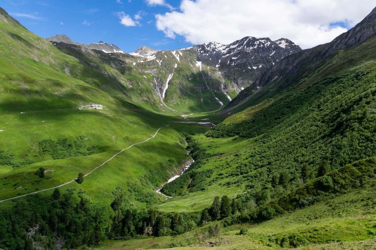 TMB le versant suisse en descendant le Grand Col Ferret