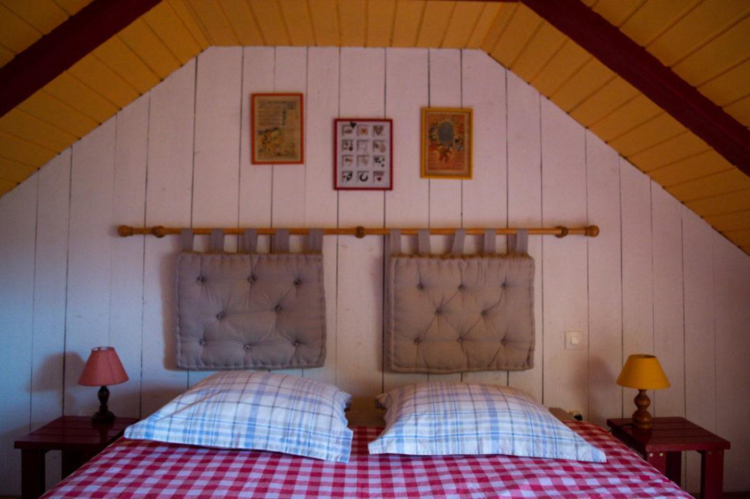 chambre dans le gite de la Retrouvade, au pied du Mont Mézenc